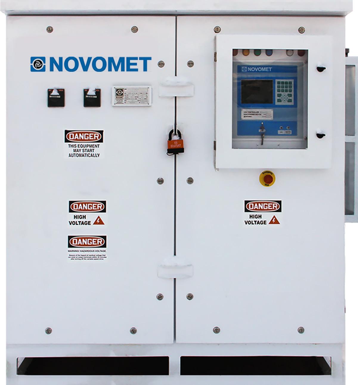 Vista frontal de uno de los variadores de velocidad de Novomet